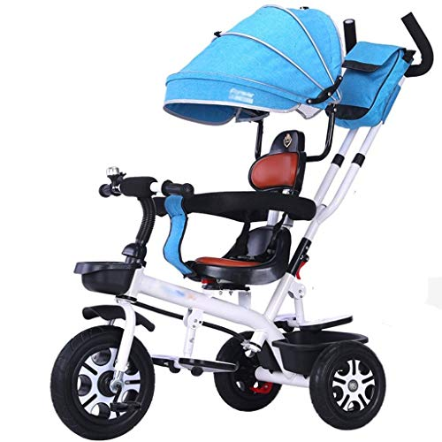 Kinderen driewieler verstelbaar Cabrio driewieler met luifel Mummy Bag kinderwagen winkelmandje geschikt voor 1-6 jaar oud.