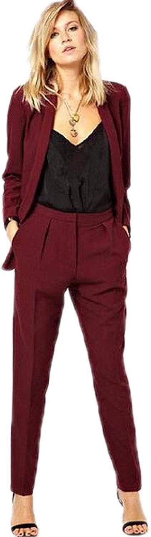 JYDress Women's Business Formal 2 Piece Suit Jacket Pants Set Ladies Office Uniform