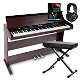 Piano digital FunKey DP-88 marrón set con auriculares, banco y manual...