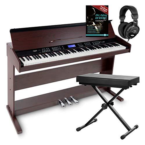 FunKey DP-88 II Digitalpiano Set (88 anschlagsdynamische Tasten, 360 Sounds, 160 Styles, MP3-Player, inkl. Keyboardbank, Kopfhörer und Klavierschule) braun
