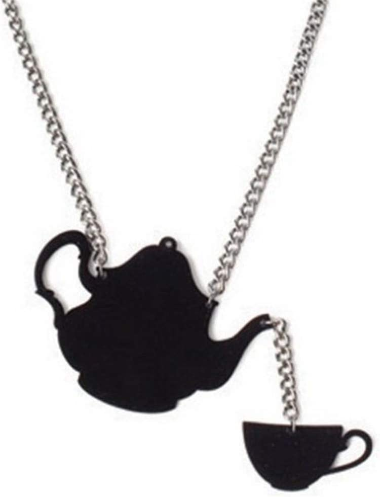 WEILYDF Teapot Necklace Personality Unique Shape Collar Short Necklace Glamour Punk Necklace Exquisite Clavicle Chain