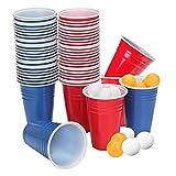Yosemy Beer Pong Kit Gobelets 120 Pièces Tasses pour Amusants et Jeu 450ML Gobelet Réutilisable Rouge et Bleu + 12 Balles Kit Beer Pong pour Soirée Fête