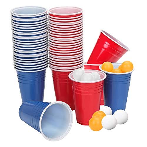 Yosemy 120 Beerpongbecher Set Partybecher Plastikbecher 450ml Rote+Blaue Beer Pong Becher und 12 Beer Pong Bällen für Party Trinkbecher Bier Festival Hochzeit Geburtstage