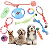 LKJYBG Dog Rope Toys Chew Teething Training Toys Natural Cotton Interactive 10Pcs Set Cotton Rope for Small and Medium Dogs,#1