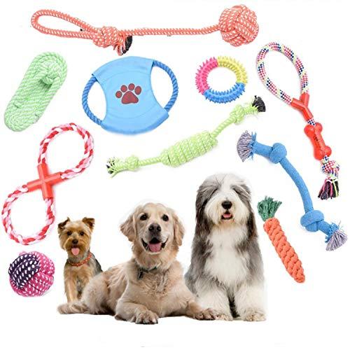 Juguetes de cuerda para perros para masticar dentición, juguetes de entrenamiento de algodón natural, interactivos, juego de 10 piezas, cuerda de algodón para perros pequeños y medianos, # 1