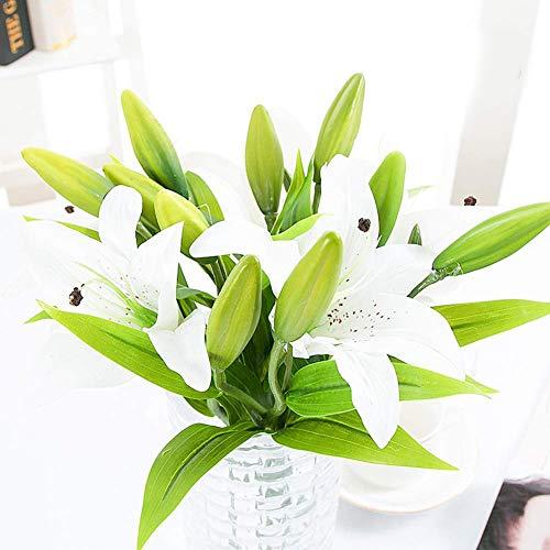 Fiori Artificiali Fiori Finti Giglio, Feelava 5 Pezzi Realistici Tocco Plastica di Seta Lily Bouquet Artificial Flower Pianta Artificiale con 3 Gemme di Fiore, Fai da te Decorazion(Bianca)
