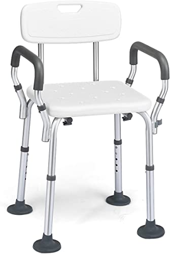 """wholesale Giantex Shower Chair with Arms and popular Back Removable,Adjustable Height and Non-Slip Aluminum Frame Bathtub Shower Lift Chair Seat for Elderly and Disabled Bath Seat new arrival (21""""x19""""x32.5"""") online"""