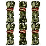 Brotree テントロープ 反射材入り パラコード 長さ 4m 6本 / 8本 セット ガイロープ タープロープ ガイライン アルミ自在金具 収納袋付き (5mm)