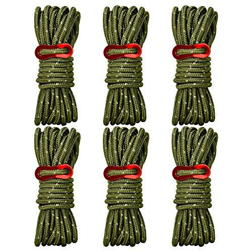 Brotree Brotree テント ロープ 反射材入りパラコード 長 4m 6本 ガイライン ガイドロープ アルミ自在金具 収納網袋付 4mm 耐荷重 250kg 5mm 耐荷重 340kg