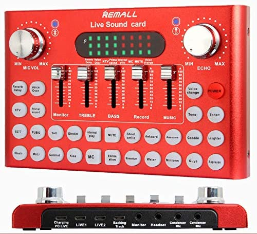 REMALL Bluetooth Live Sound Card Voice Changer Audio DJ Mixer Multiple Sound Effects Audio Box product image