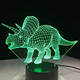 Wfmhra New Dinosaur 3D Bulbing Light LED Night Lamp Color Changing Touch Switch Luminaria Atmosphere Indoor Lampara Infantil Nightlight