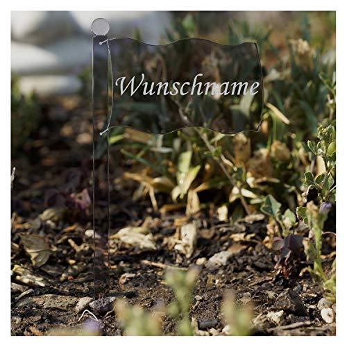 Bütic GmbH Acrylglas Pflanzschilder Fahne grau transparent - Auswahl + Wunschname - Gartenstecker, Kräuterschilder, Pflanzenstecker, Pflanzenname:Bärlauch