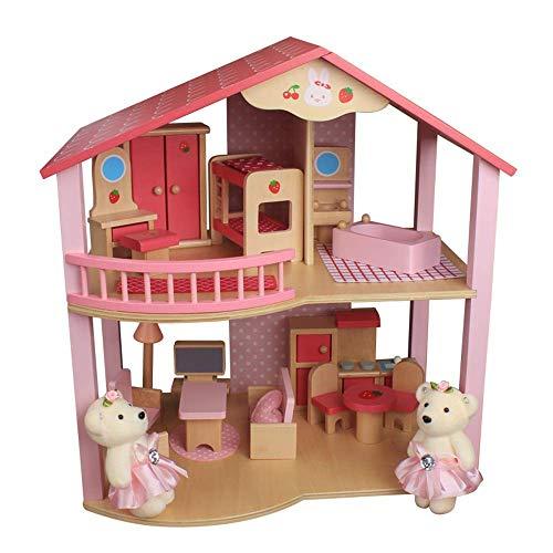LZZB Casa de muñecas Casa de muñecas Muñecas Juguete Casa Familiar Muebles Casa de Campo Uptown Casas de muñecas o Regalos de cumpleaños (Color: Rosa, Tamaño: 44.5x40x25.5cm)