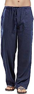 waitFOR Men Summer Loose Cotton Linen Trousers Soft Solid Color Wide Leg Drawstring Household Long Pants Elastic Waist Spo...