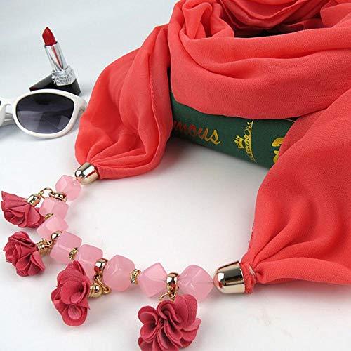 YUANCHENG Frauen gedruckt Chiffon Ring Schal Hijabs Multi-Stil Schmuck Halskette Blume Anhänger Schal Lady Bekleidung Accessoires Wassermelone rot