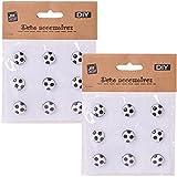 TE-DecoArt 18 Stück DIY Zierknöpfe Ösenknöpfe Fußball Ball 14 mm Bunte Knöpfe schwarz weiß zum selber Basteln und Verzieren