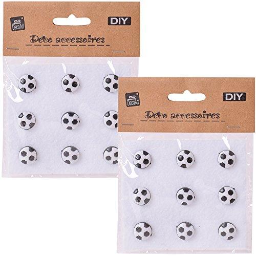 TE-DecoArt 18 bottoni decorativi fai da te con occhielli, pallone da calcio, 14 mm, bottoni colorati in bianco e nero, per fai da te e decorazioni