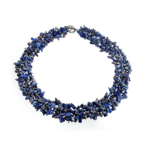 Bling Jewelry Blue Lapis Gemstone Chunky Chips Cluster Bib Multi Strand Statement Necklace for Women Silver Plated