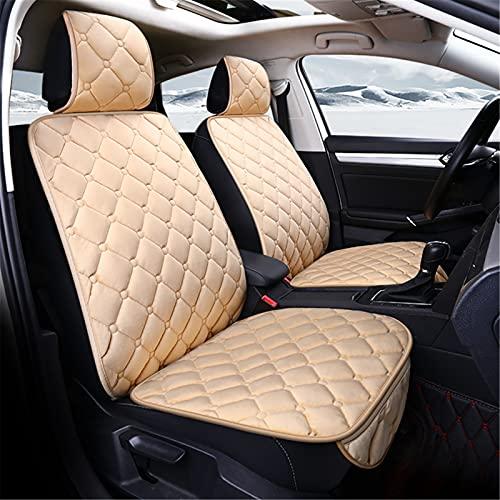 Upupto Fluff Front y Trasero Asientos Cubiertas Airbag Compatible Cubierta de Asiento de Coche Universal Coche Protectores Accesorios Interior,Beige