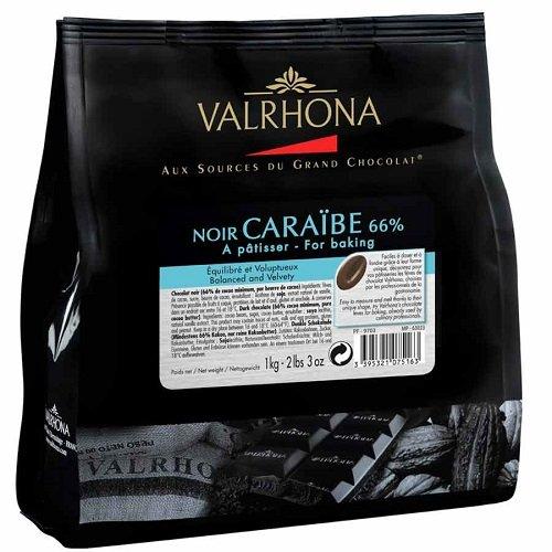VALRHONA - Sack 1 kg Caraïbe 66% - Dunkle Schokolade - Sack Bohnen - 1kg