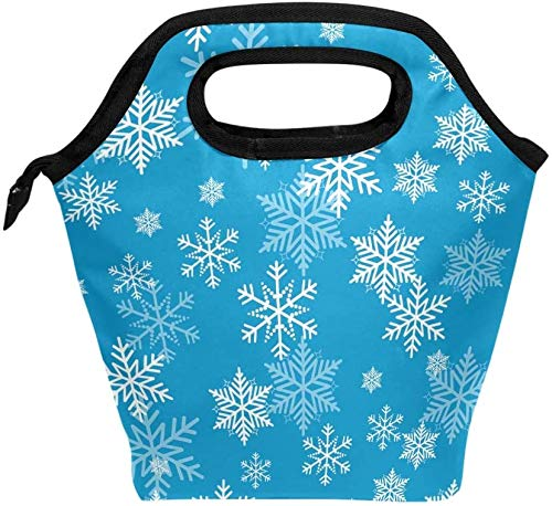Bolsa de almuerzo, patrón de copo de nieve navideño, enfriador aislado, lonchera de hielo, bolso de mano, bolso para hombres, mujeres, niños, adultos, niños, niñas