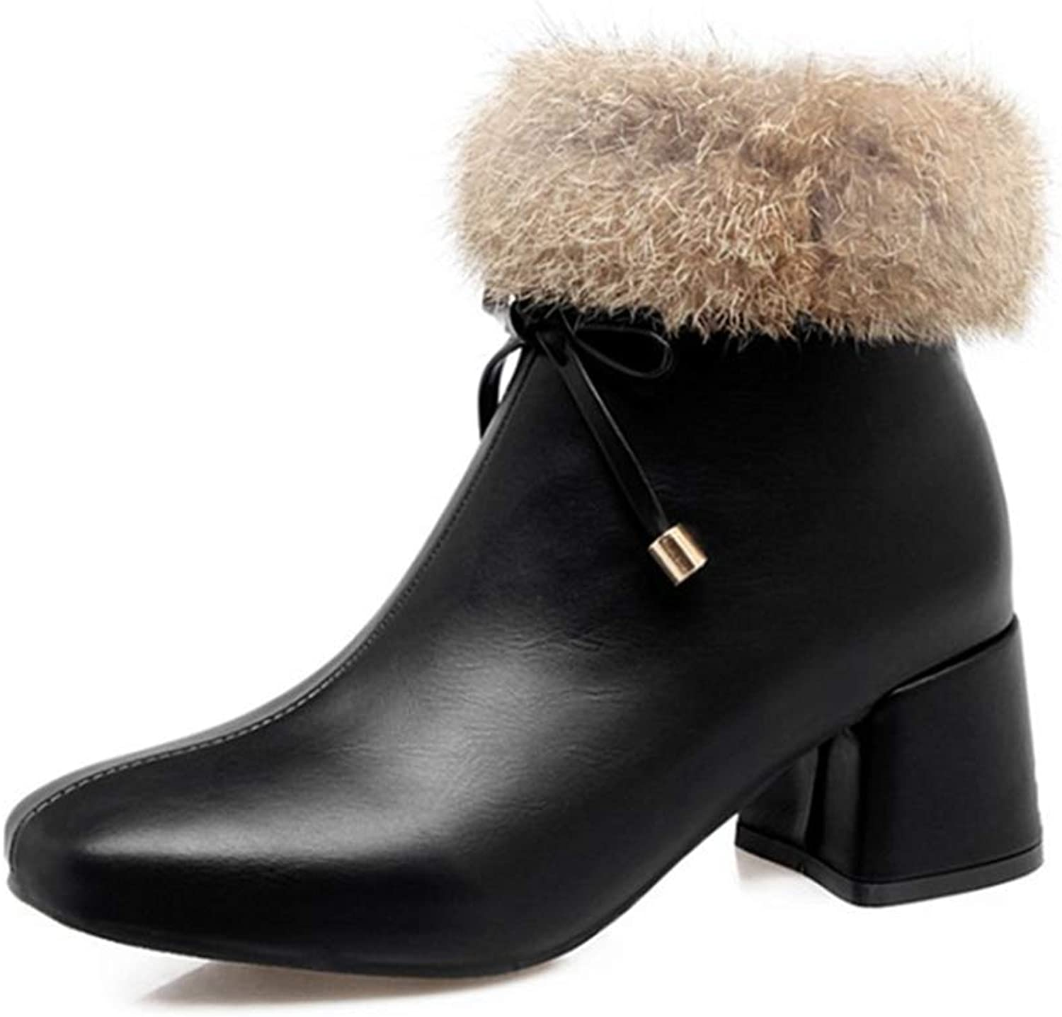 GIY Women's Square Toe Fur Ankle Boots Fashion Fringed Chunky Mid Heel Zip Winter Warm Dress Short Booties