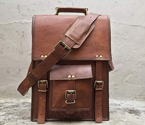 Pascado Vintage leather messenger laptop computer briefcase bag 15 inch crossbody ipad bag men women