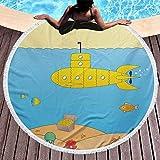 Toalla de Playa Redonda Submarino Amarillo Estera de Picnic Redonda Dibujos Animados bajo el mar Aventura Medusa Cofre del Tesoro Gaviota Toallas de pez Manta para Viaje Piscina Bate de natación Azul