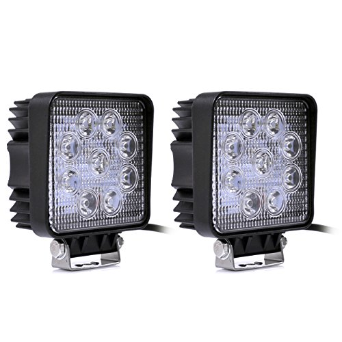 Greenmigo 2x 27W Eckig Led Scheinwerfer Offroad Lampe Flood Arbeitsscheinwerfer LED Arbeitslicht 12V 24V Zusatzscheinwerfer Rückfahrscheinwerfer für Traktor Bagger SUV - 60 Grad Wasserdicht IP67 2250LM