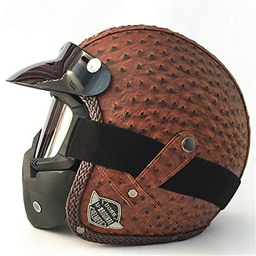 Erwachsener Helm Leder handgefertigt Jahreszeiten Vintage Helm Vintage Harley Helm Motorrad Motor Auto 3/4 Helm Halbhelm für Erwachsene vollständig CE-zertifiziert-3-L