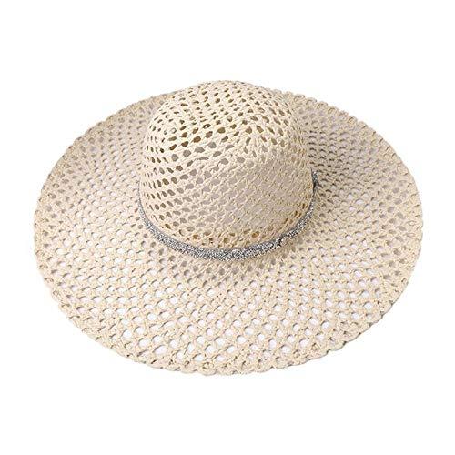 Gorros para El Sol Lady Summer Hollow out Mesh Net Sun Hat Paja Tejida Gran ala Ancha Glitter Rhinestone Chain Belt Panama Beach Cap