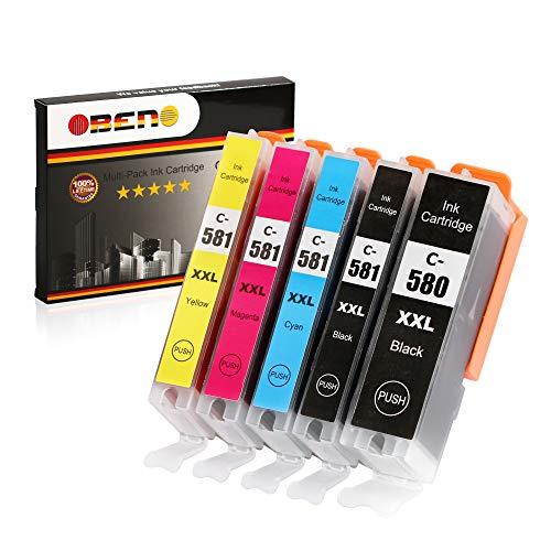 OBENO -1 set - PGI-580 CLI-581XXL Cartuccia di inchiostro compatibile da 5 pack Pixma TR8550/7550 TS8150/8250/6150/9150/6151/8251/6250/9550/705/8151(1PG BK, 1Photo BK, 1Cyan, 1 Magenta, 1Giallo)