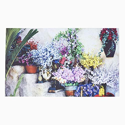 HOMESCAPES - Paillasson imprimé Fleurs en PVC, 76 x 45 cm
