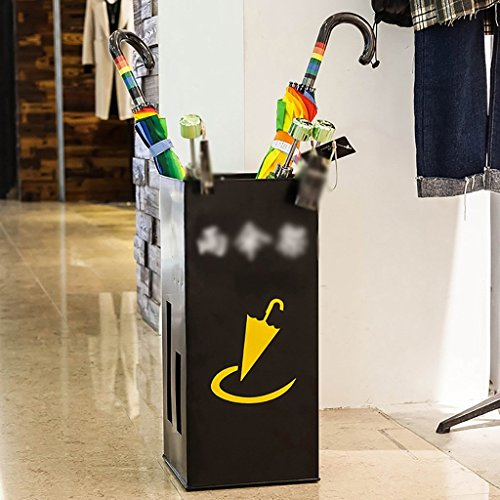 WYJW Paraplustandaard met lang handvat/kort strijkijzer, opbergplank voor hotel 25 x 25 * 50 cm voor klein hotel, schoonmaak (kleur: zwart)