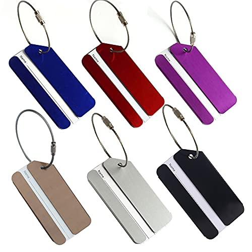 FunYoung Etichette per bagagli in metallo con targhetta per indirizzo Luggage Tags (set da 6)