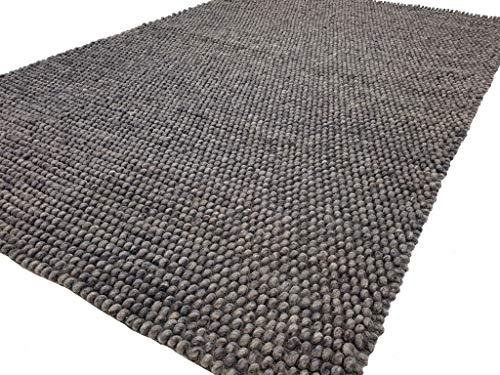 Flycarpets Ventura Bolletjes Wollen Zilver Antraciet Vloerkleed