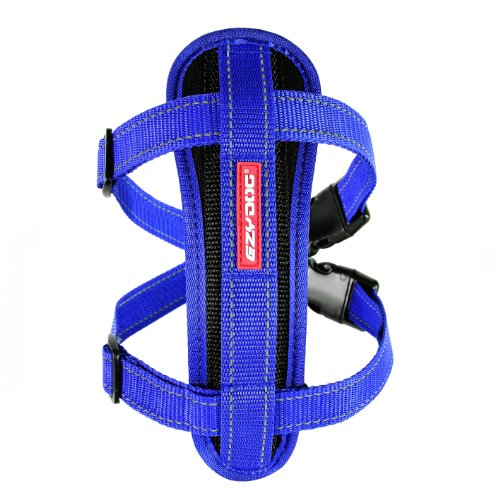 EzyDog Premium Chest Plate Custom Fit Reflective No-Pull Padded Comfort Dog Harness - Perfect for Training, Walking, and Control - Includes Car Restraint Attachment (Medium, Blue)
