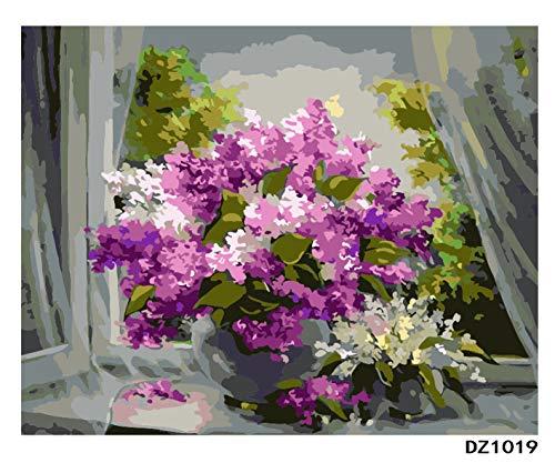 INART2 Zeichnung Gemälde nach Zahlen Violett vor dem Fenster Acrylfarbe auf Leinwand Srood Paintwork für Erwachsene und Kinder Kinderzimmer Geburtstagsgeschenke für sie 40X50cm ungerahmt