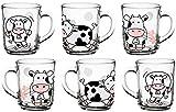 Vasos infantiles con mango, juego de 6 unidades, diseño de vaca de 220 ml, vasos de té, vasos de leche de cristal estables