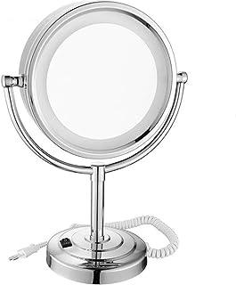 Home Vanity Mirror Dressing Table Makeup Mirror LED Illuminated Dressing Table Magnifying Mirror 360&deg Swivel Bathroom Double-Sided Mirror Mirrors