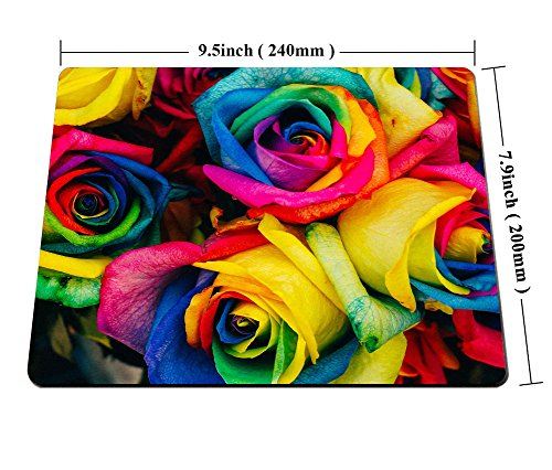 Smooffly Rose Mouse Pad,Colorful Rose Petals Rainbow Rose Petals Customized Rectangle Non-Slip Rubber Mousepad Gaming Mouse Pad Photo #4