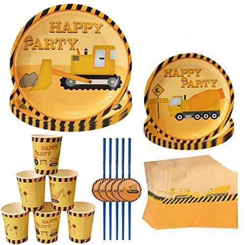 DreamJing 60-teiliges Kindergeburtstag Baustelle Baufahrzeuge-Radlader-Bagger Baustellen Party-Set mit Becher Teller Servietten Trinkhalme - Partygeschirr für 12 Kinder
