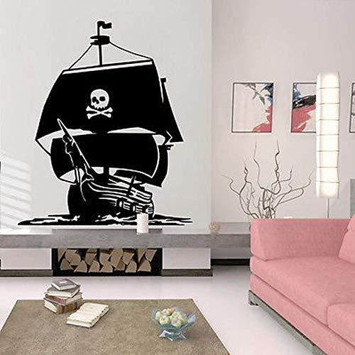 AGiuoo Decoración náutica para el hogar Barco Pirata mar Caribe Pegatina de Pared para Sala de Estar Vinilo océano mar Olas calcomanías casa murales extraíbles 77x89cm