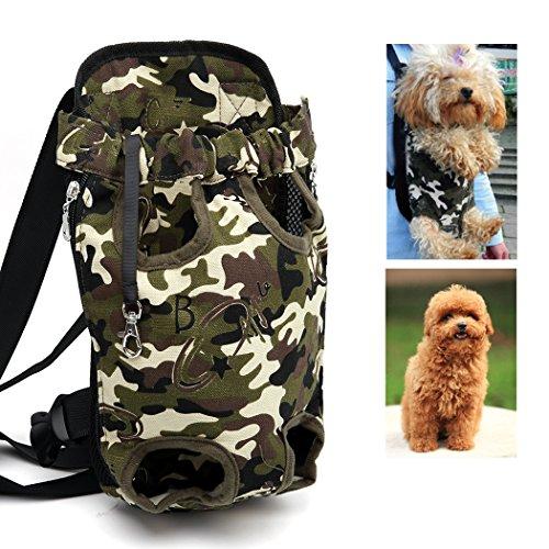 Xiaoyu zaino vettore per animali da compagnia, regolabile, a mani libere, gambe e cani da compagnia traspiranti zaino per cani, passeggiate, viaggi in bicicletta, outdoor e moto, Camouflage Nero, S