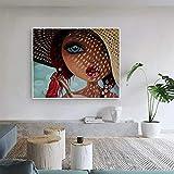 QAZEDC Dekorative Malerei Sommersprossen Mädchen Leinwand