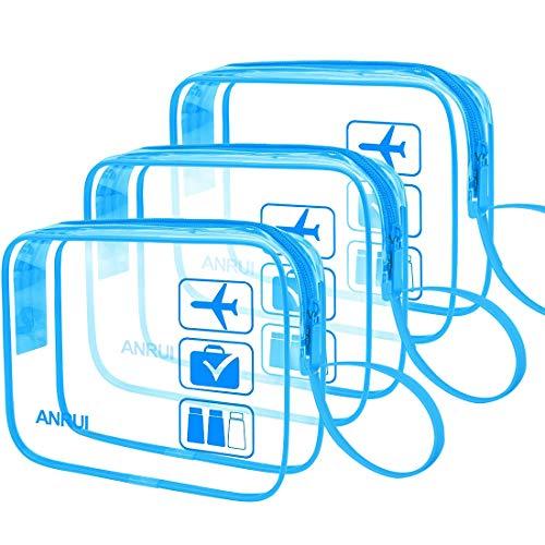 TSA Approved Clear Toiletry Bag, ANRUI Small Cosmetic Bag For Women Men Tsa Liquid Bag Waterproof Makeup Bag Set for Travel 3pcs Blue