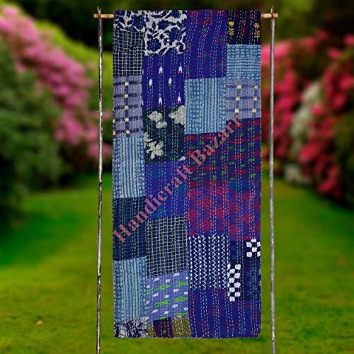 Handicraft Bazarr - Manta con estampado a mano, diseño de hippie, estilo vintage, funda de cama Gudrrie, seda Patola para servidores de suelo, sofá cama (108 x 220 cm aprox.)