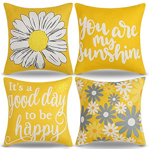 Fundas de Cojines 45x45 Flores Cojines de Verano Para Exteriores Cojines de Girasol Amarillo Mostaza Margaritas Decorativos Cojines Para de Jardín