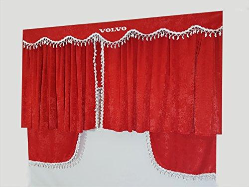 Juego de 5piezas de cortinas rojas con borlas de color blanco. Tamaño universal para todos los modelos de camión. Accesorios para decoración de cabinas en tejido de felpa