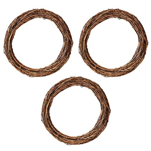 SOIMISS Grapevine Wreaths Round Macrame Ring Hoops DIY Making Wreath Decor Wall Hanging Decor Supplies for Valentines Day Easter Wedding DIY Dream Catcher Wreath Coffee 30cm 3pcs